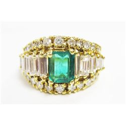 18k Yellow Gold Ring w/ Approx. 1 carat Emerald, Baguette & Round Brilliant Cut Diamonds - 22 round