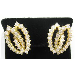 18k Yellow Gold Pierced/Clip On Earrings w/ Round Brilliant Cut Diamonds - 64 round brilliant cut di