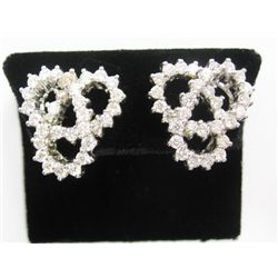 18k White Gold Pierced/Clip On Earrings w/ Round Brilliant Cut Diamonds - 62 round brilliant cut dia