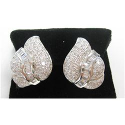 18k White Gold Pierced/Clip On Earrings w/ Baguette & Round Brilliant Cut Diamonds - Approx. 4.14 ca