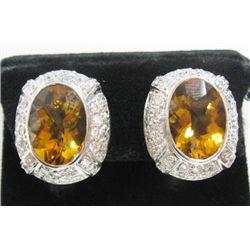 18k White Gold Pierced/Clip On Earrings w/ Citrine & Round Brilliant Cut Diamonds - 88 round brillia