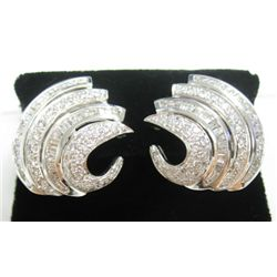 18k White Gold Pierced/Clip On Earrings w/ Baguette & Round Brilliant Cut Diamonds - Approx. 3.70 ca