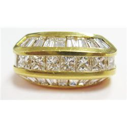 18k Yellow Gold Ring w/ Baguette & Princess Cut Diamonds - Approx. 2.70 carats of baguette & princes