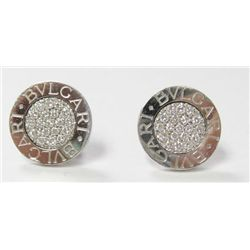18k White Gold Bvlgari Pierced Earrings w/ Round Brilliant Cut Diamonds - All original round brillia