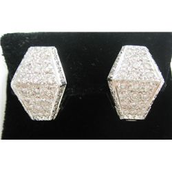18k White Gold Pierced Earrings w/ Round Brilliant Cut Diamonds - Approx. 4.32 carats of round brill