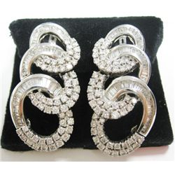 18k White Gold Pierced/Clip On Earrings w/ Baguette & Round Brilliant Cut Diamonds - Approx. 5.55 ca