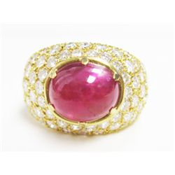 18k Yellow Gold Ring w/ Approx. 2.5 carat Cabochon Ruby & Round Brilliant Cut Diamonds - Approx. 4.2