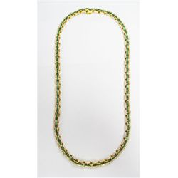 18k Yellow Gold Diamond & Emerald Necklace - 448 round brilliant cut diamonds, TAW: 4.48 carats. Est