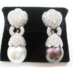 18k White Gold Pierced/Clip On Earrings w/ Round Brilliant Cut Diamonds & Pearls- Approx. 5.52 carat