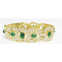 18k Yellow Gold Bracelet w/ Cabochon Emeralds & Round Brilliant Cut Diamonds - 12 cabochon emeralds,