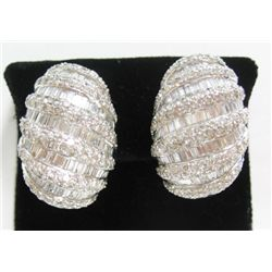 Platinum Pierced/Clip On Earrings w/ Baguette & Round Brilliant Cut Diamonds - Approx. 10.84 carats