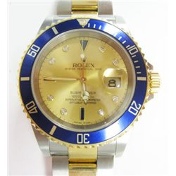 Gents 18k Yellow Gold & Stainless Steel Rolex Oyster Perpetual Date Submariner Watch - 40mm case, fa