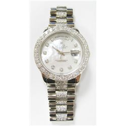 "Gents 18k White Gold Rolex Oyster Perpetual Day-Date ""President"" Watch - 36mm case, double quick set"
