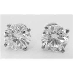 Pair of GIA Certified 2.01 Carat Round Brilliant Cut Diamond Studs, TAW: 4.02 carat. GIA #1136274461