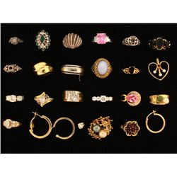 Lot Costume Jewelry:  (20) Assorted costume rings; (4) Single costume earrings, (1) Costume pendant