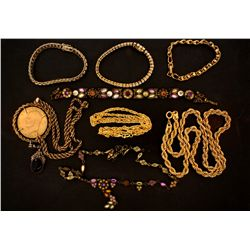 Lot assorted jewelry:  (2) Bracelets with synthetic stones stamped .925, 29 grams; (1) Gold tone nec