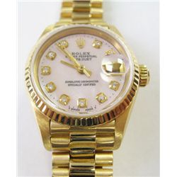 Ladies 18k Yellow Gold Rolex Oyster Perpetual DateJust President Watch - 26mm, crystal sapphire, cus