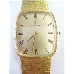 Vintage 18k Yellow Gold Corum Watch - 29mm case, gold roman numeral dial. Manual wind movement. 18k
