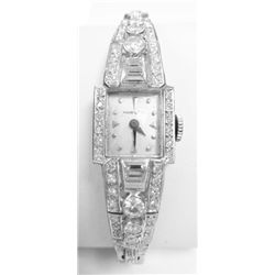 ART DECO Platinum & Diamonds Ladies Hamilton Watch - Approx. over 2 carats in diamonds, 15mm case, 1