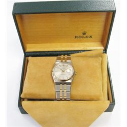 Gents 18k Yellow Gold & Stainless Steel Rolex Oyster Quartz DateJust Watch. MODEL 17013- 36mm, cryst