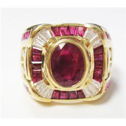 18k Yellow Gold Ring w/ Oval & baguette Rubies & Diamonds - Approx. 1 carat Oval Cut Ruby, + 38 bagu
