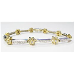 18k Yellow & White Gold Bracelet w/ Round Brilliant Cut Diamonds - 123 round brilliant cut diamonds,