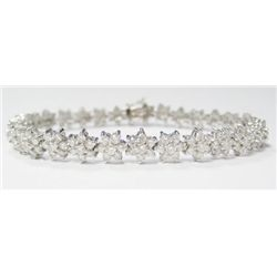 18k White Gold Bracelet w/ Round Brilliant Cut Diamonds - 29 round brilliant cut diamonds, approx. 1