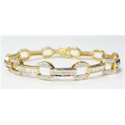 18k Yellow Gold Bracelet w/ Baguette & Round Brilliant Cut Diamonds - 46 baguette cut diamonds, appr
