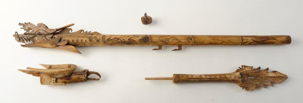 Carved Bone Blow Gun With Dragons Collected Pre 1950 With Dark Aging Some Breakage To Dragon Mounts