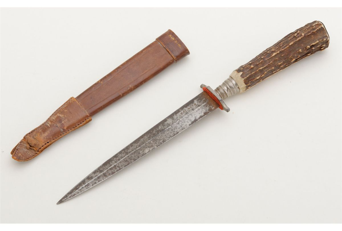 Original Bowie Knife with Stag grip marked Solingen Germany  Circa 1950's   Good used condition  Also