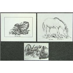 3 Art Prints Cecil Young PONY + THE LAST 1 Western Art