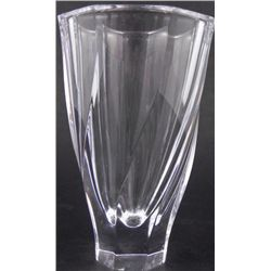 Heavy Crystal Vase w/Subtle Twist Pattern Octagonal Top