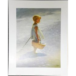 I. Davidi Young Girl On a Beach Children Art Print