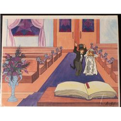 Original Bride & Groom Animation Cel Background Unhappy