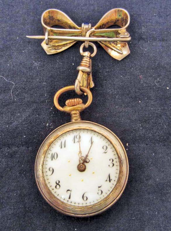 489198453 ... Image 3 : ANTIQUE FRENCH ENAMEL AND GOLD LADIES LAPEL WATCH BROOCH -  RUNS ...