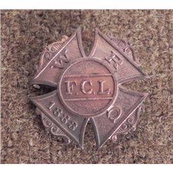 "WOMEN'S RELIEF CORPS-1883-FCL MEMBERS BADGE-REVERSE ""PA"