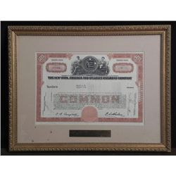 OLD RAILROAD CO FRAMED STOCK CERTIFICATE