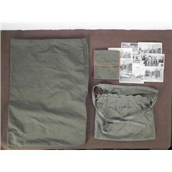 WWII ARMY LOT- 2 OD EQUIP. BAGS-1 SMALL KIT, POSTCARDS