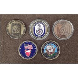 5 CHALLENGE COINS-ARMY & NAVY-TOP QUALITY