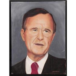 Ken Maund Original Painting - President George Bush Sr.