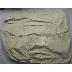 WWII U.S. ARMY PUP TENT-OD CANVAS WITH ROPE LOOPS AND G