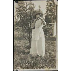 Antique Real Photo Postcard Lady w/Rifle Gun RPPC