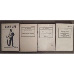 4 US GI WWII MANUALS-UNARMED DEFENSE-1ST AID-ENGINEERS