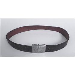 WWII Nazi Leather Belt & Buckle w/Eagle, Swastika