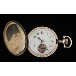 Antique Swiss Gold Fld Pocket Watch w/Hand Painted Dial