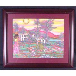 Susan Patricia Hawaii POINT PARADISE Island Art Framed