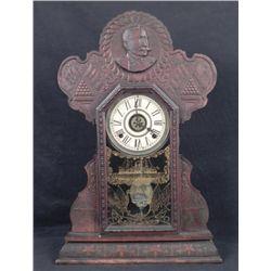 Admiral Dewey Gingerbread Mantle Clock Span-Am 1900