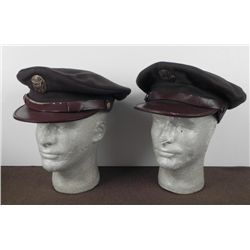 TWO WWII US AAF WOOL VISOR HATS WITH INSIGNIA