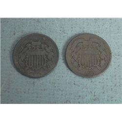2 Civil War 2 Cent Pieces Coins 1864, 1865