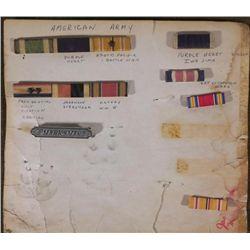 WWII 6 RIBBON BARS AND 1 MARKSMANSHIP BADGE